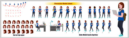 Asian Girl Student Character Design Model Sheet with walk cycle animation. Girl Character design.