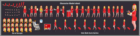 Blond Hair Stewardess Character Design Model Sheet with walk cycle animation. 矢量图像