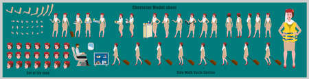 Arab Stewardess Character Design Model Sheet with walk cycle animation. 矢量图像