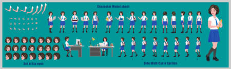 Girl Student Character Design Model Sheet with walk cycle animation. 矢量图像