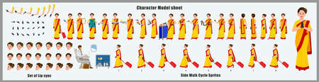 Indian Air hostess Character Design Model Sheet with walk cycle animation.