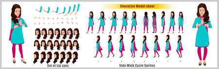 Indian Girl Character Design Model Sheet with walk cycle animation.