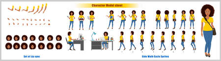 African American Girl Student Character Design Model Sheet with walk cycle animation
