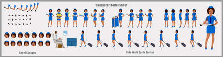 African American Stewardess Character Design Model Sheet with walk cycle animation. 矢量图像