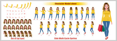 Blond Hair Shopping Girl Character Design Model Sheet with walk cycle animation. 矢量图像