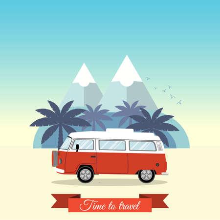 minivan: Retro minivan with palm trees and mountains on the background