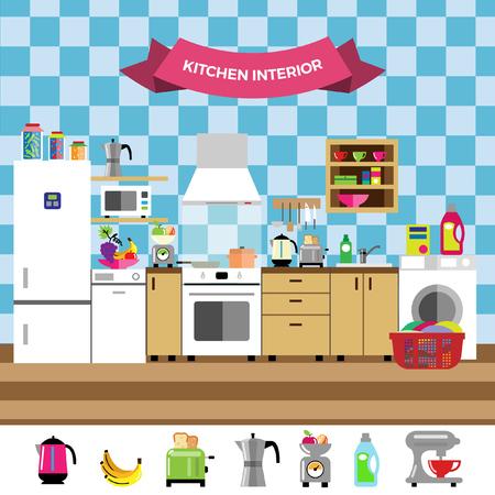 interior design: Vector kitchen design interior