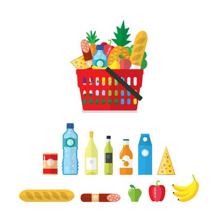 Shopping basket with grocery products. Cartoon vector illustration Illustration