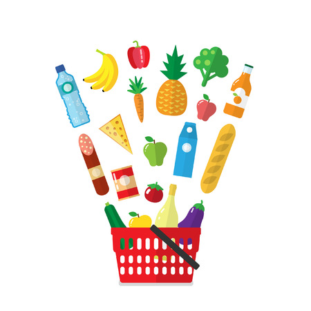 Shopping basket with products flying out