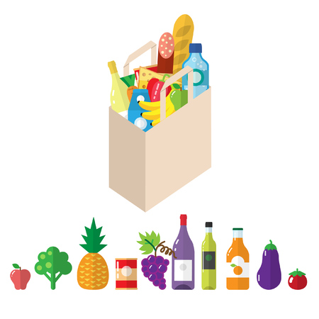 Paper bag with grocery products