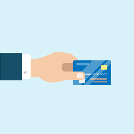 cashless payment: Hand holding a bank card credint Illustration