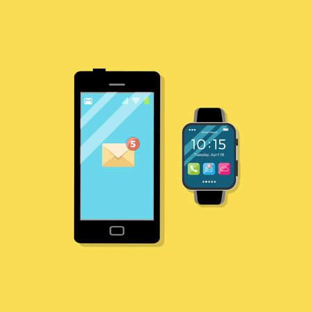 smartphone: Smartphone and a wristwatch Illustration