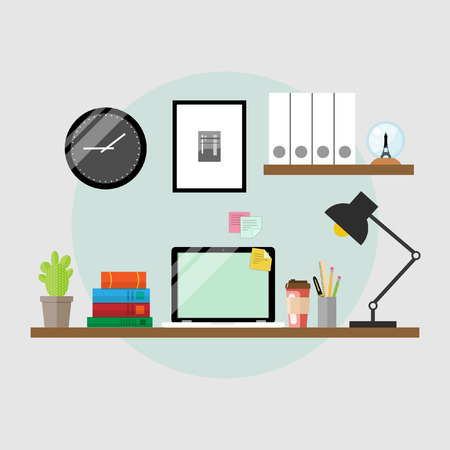 Vector illustration of a workplace