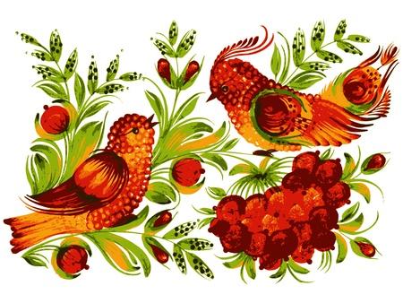 ethnics: mano, disegnato, vettore, illustrazione in stile popolare ucraina
