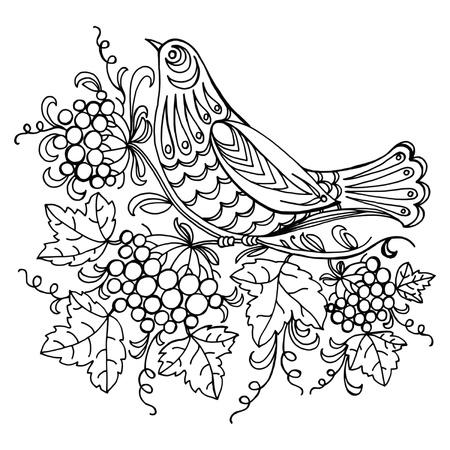 hand drawn, black illustration in Ukrainian folk style