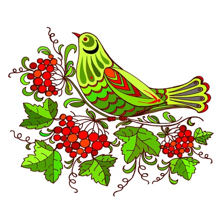 cuckoo: hand drawn, vector, illustration in Ukrainian folk style Illustration