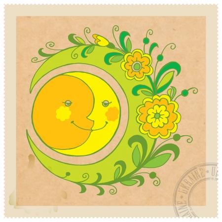 vintage floral stamp in Ukrainian folk style Vector