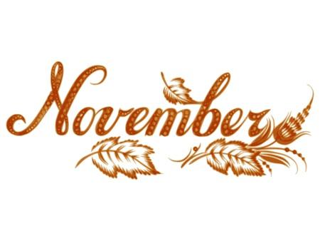månader: November, name of the month, hand drawn, illustration in Ukrainian folk style Illustration