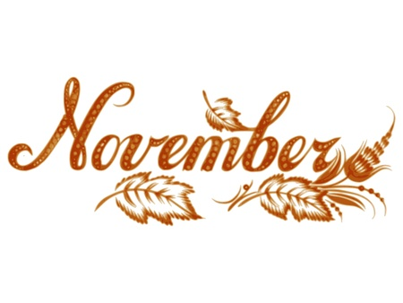 November, name of the month, hand drawn, illustration in Ukrainian folk style Illustration