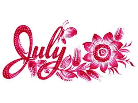July, name of the month, hand drawn, illustration in Ukrainian folk style