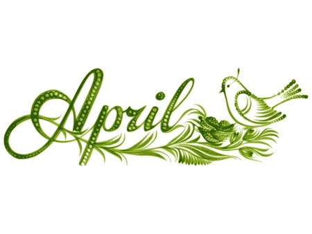 April, name of the month, hand drawn, vector, illustration in Ukrainian folk style Vector
