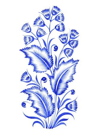 ethnics: blu, composizione di fiori, disegnati a mano, illustrazione in stile popolare ucraina Vettoriali