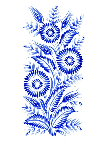 blue, flower composition, hand drawn, illustration in Ukrainian folk style Vector