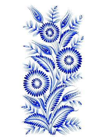blue flowers: blue, flower composition, hand drawn, illustration in Ukrainian folk style