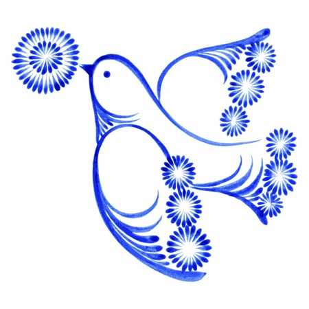 flying bird with flower, hand drawn, illustration in Ukrainian folk style Vector