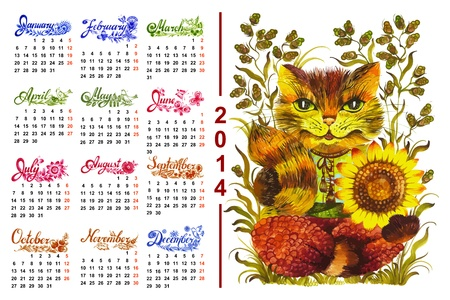 Calendar 2014, hand drawn,in Ukrainian folk style Vector