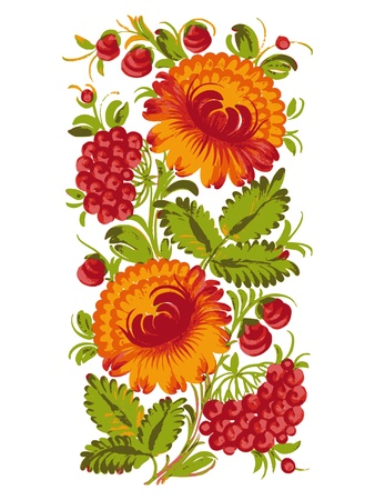 floral decorative ornament, hand drawn,  illustration in Ukrainian folk style Vector