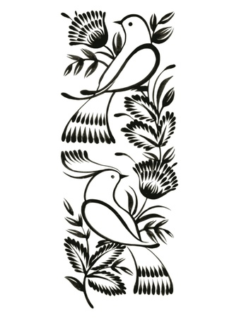 folk: decorative ornament, hand drawn, vector, black illustration in Ukrainian folk style