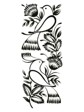 ethnics: ornamento decorativo, disegnato a mano, vettore, illustrazione in bianco in stile folk ucraino Vettoriali