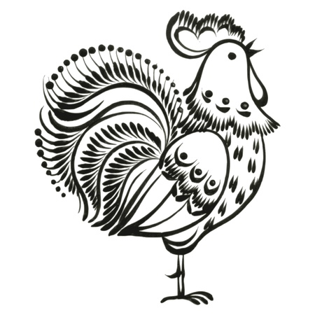 rooster, hand drawn, vector, black illustration in Ukrainian folk style Vector