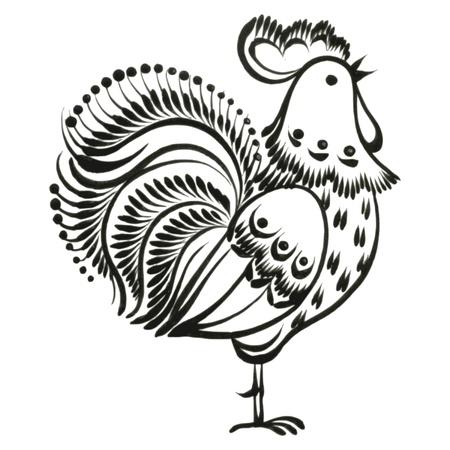 rooster, hand drawn, vector, black illustration in Ukrainian folk style