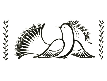 bird, decorative ornament, hand drawn, vector, black illustration in Ukrainian folk style Vector