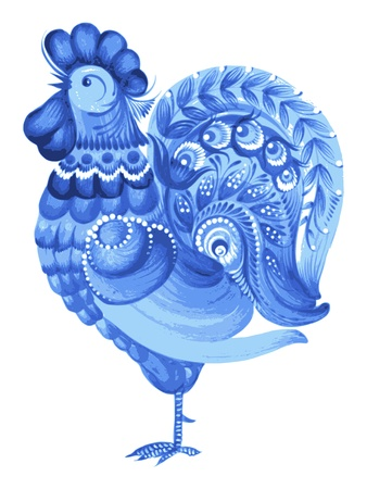 rooster, hand drawn, vector, illustration in Ukrainian folk style Vector
