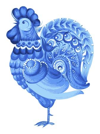 rooster, hand drawn, vector, illustration in Ukrainian folk style Иллюстрация