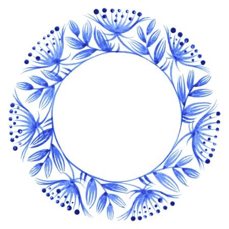 ethnics: cerchio floreale, disegnati a mano, vettore, illustrazione in stile folk ucraino Vettoriali
