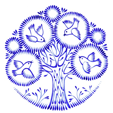 floral circle, hand drawn, illustration in Ukrainian folk style Vector