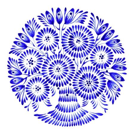 ethnics: floral circle, hand drawn, illustration in Ukrainian folk style Illustration