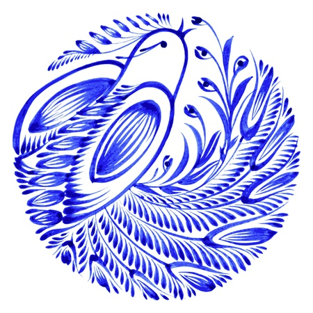 blue bird: floral circle hand drawn illustration in Ukrainian folk style Illustration