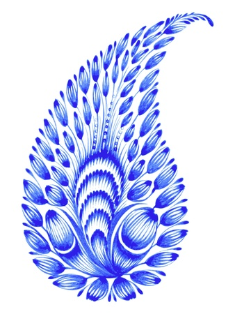 blue flower composition hand drawn illustration in Ukrainian folk style Vector