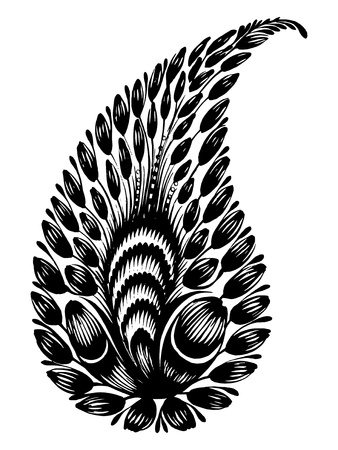 black flower composition hand drawn illustration in Ukrainian folk style Vector