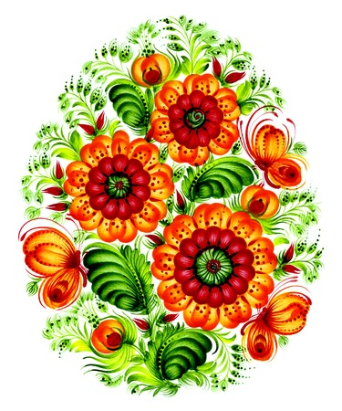 floral decorative ornament, hand drawn, illustration in Ukrainian folk illustration