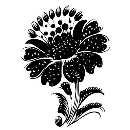 hand drawn, ornamental, black silhouette in grunge style Vector