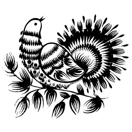 ethnics: disegnati a mano, ornamentali, silhouette nera in stile grunge Vettoriali