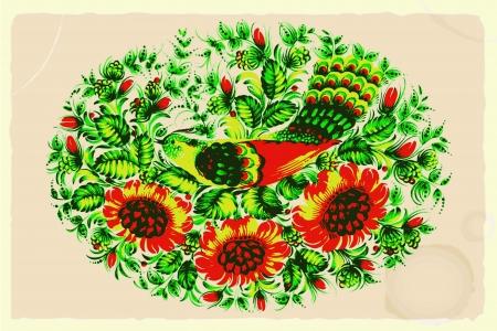 archetype: ornament, folk art composition on vintage background