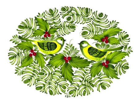 high resolution, hand drawn illustration in Ukrainian folk style Фото со стока - 23091315