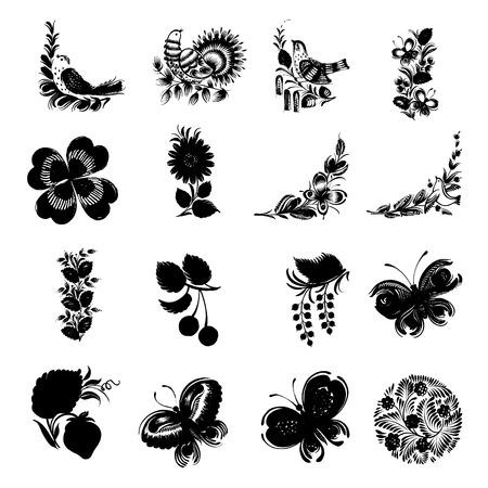 conjunto de ilustraciones dibujadas a mano en el estilo nacional de Ucrania
